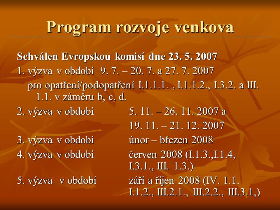 Program rozvoje venkova Schválen Evropskou komisí dne 23. 5. 2007 1. výzva v období 9. 7. – 20. 7. a 27. 7. 2007 pro opatření/podopatření I.1.1.1., I.