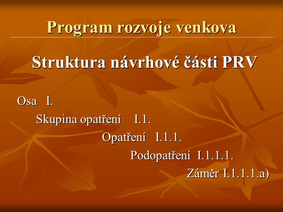 Program rozvoje venkova Struktura návrhové části PRV Osa I. Skupina opatření I.1. Opatření I.1.1. Podopatření I.1.1.1. Záměr I.1.1.1.a)