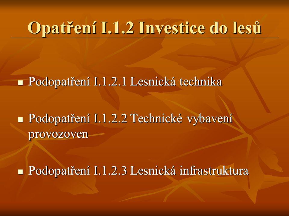 Opatření I.1.2 Investice do lesů  Podopatření I.1.2.1 Lesnická technika  Podopatření I.1.2.2 Technické vybavení provozoven  Podopatření I.1.2.3 Les
