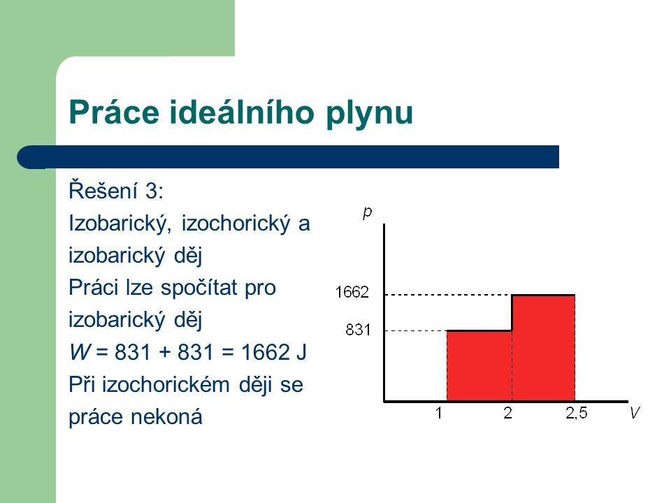 Práce ideálního plynu Řešení 3: Izobarický, izochorický a izobarický děj Práci lze spočítat pro izobarický děj W = 831 + 831 = 1662 J Při izochorickém ději se práce nekoná