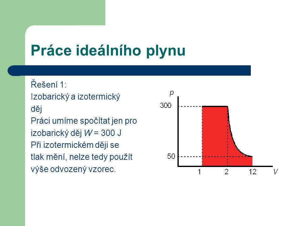Práce ideálního plynu Řešení 1: Izobarický a izotermický děj Práci umíme spočítat jen pro izobarický děj W = 300 J Při izotermickém ději se tlak mění, nelze tedy použít výše odvozený vzorec.