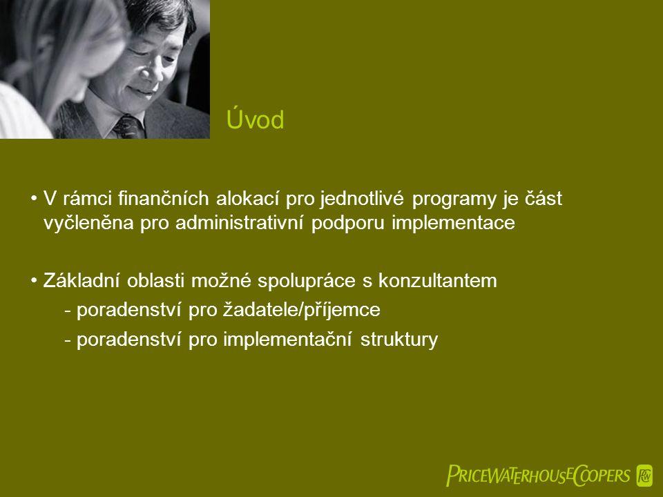  •V rámci finančních alokací pro jednotlivé programy je část vyčleněna pro administrativní podporu implementace •Základní oblasti možné spolupráce s konzultantem -poradenství pro žadatele/příjemce -poradenství pro implementační struktury Úvod