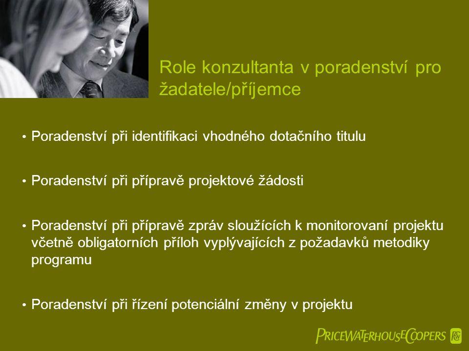  Role konzultanta v poradenství pro žadatele/příjemce • Poradenství při identifikaci vhodného dotačního titulu • Poradenství při přípravě projektov