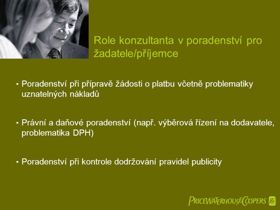  Role konzultanta v poradenství pro žadatele/příjemce • Poradenství při přípravě žádosti o platbu včetně problematiky uznatelných nákladů • Právní a daňové poradenství (např.