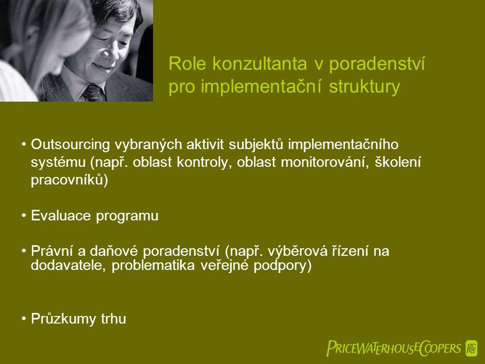  Role konzultanta v poradenství pro implementační struktury •Outsourcing vybraných aktivit subjektů implementačního systému (např. oblast kontroly,