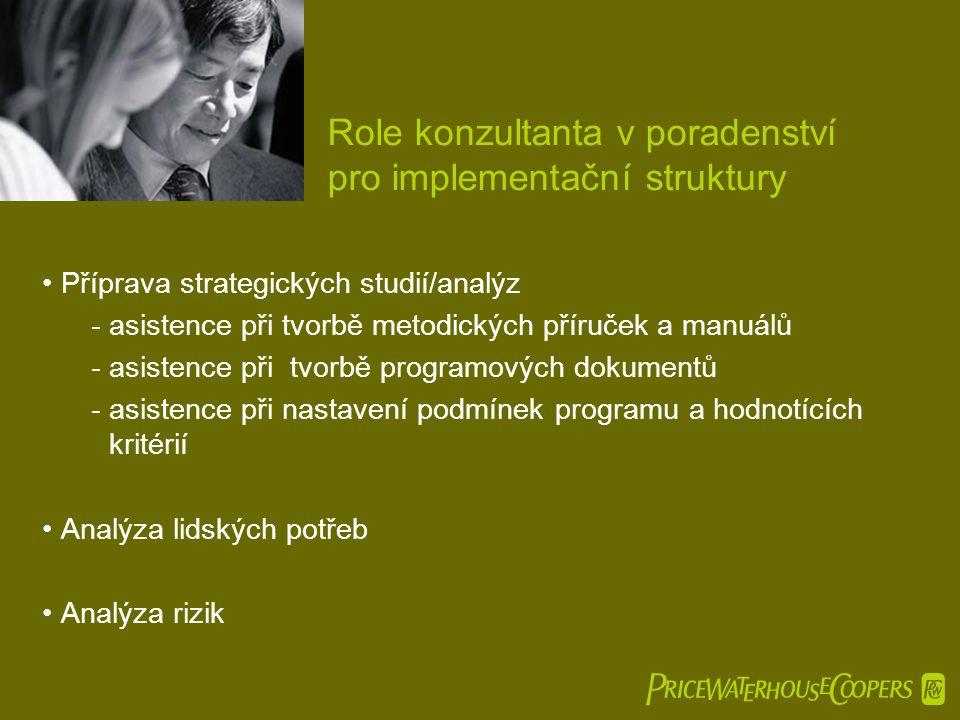  Role konzultanta v poradenství pro implementační struktury •Příprava strategických studií/analýz -asistence při tvorbě metodických příruček a manuálů -asistence při tvorbě programových dokumentů - asistence při nastavení podmínek programu a hodnotících kritérií •Analýza lidských potřeb •Analýza rizik