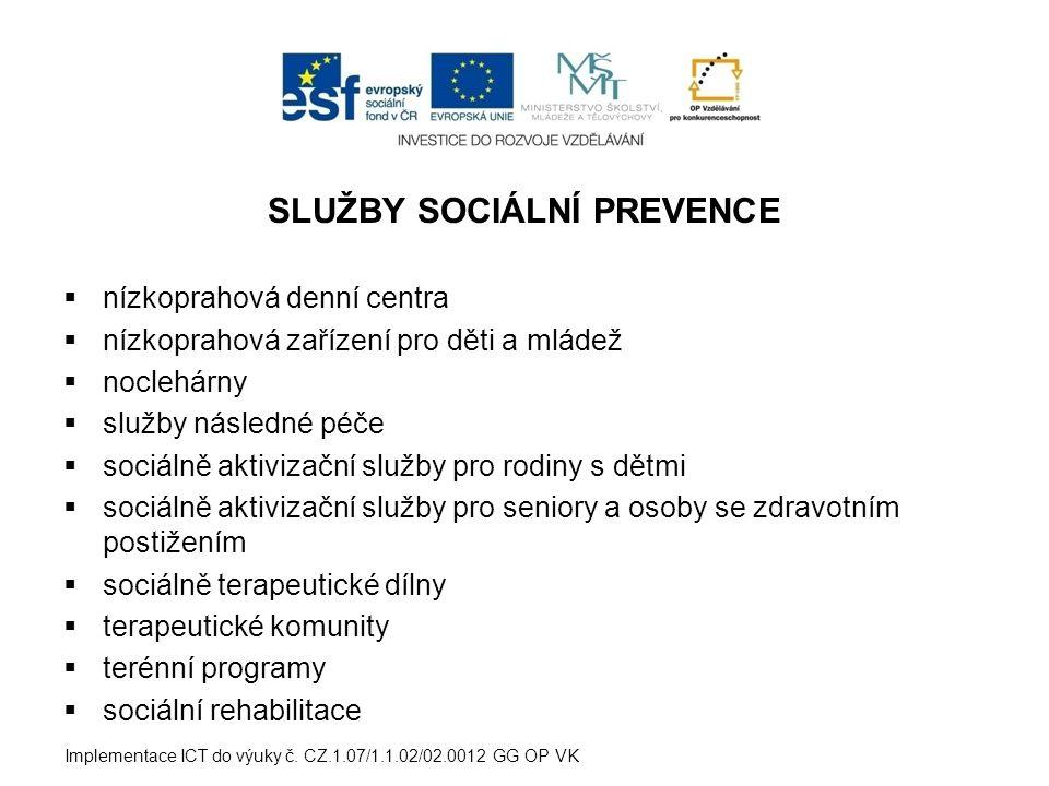 SLUŽBY SOCIÁLNÍ PREVENCE  nízkoprahová denní centra  nízkoprahová zařízení pro děti a mládež  noclehárny  služby následné péče  sociálně aktivizační služby pro rodiny s dětmi  sociálně aktivizační služby pro seniory a osoby se zdravotním postižením  sociálně terapeutické dílny  terapeutické komunity  terénní programy  sociální rehabilitace Implementace ICT do výuky č.