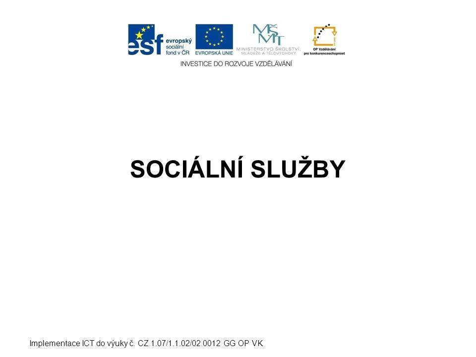 SLUŽBY SOCIÁLNÍ PÉČE  domovy pro osoby se zdravotním postižením  domovy pro seniory  domovy se zvláštním režimem  chráněné bydlení  sociální služby poskytované ve zdravotnických zařízeních ústavní péče Implementace ICT do výuky č.