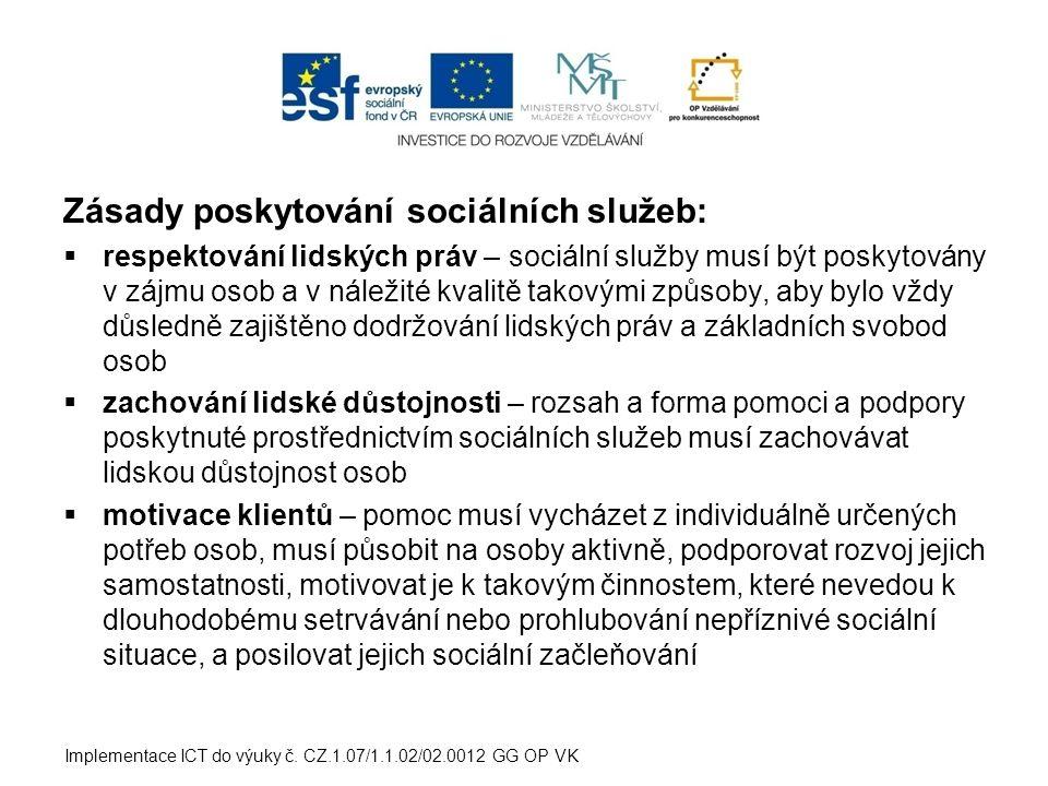 Základní druhy sociálních služeb:  sociální poradenství  služby sociální péče  služby sociální prevence Implementace ICT do výuky č.