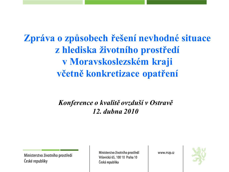 Zpráva o způsobech řešení nevhodné situace z hlediska životního prostředí v Moravskoslezském kraji včetně konkretizace opatření Konference o kvalitě ovzduší v Ostravě 12.