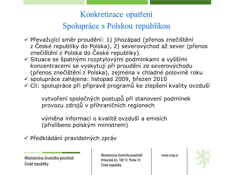 Konkretizace opatření Spolupráce s Polskou republikou  Převažující směr proudění: 1) jihozápad (přenos znečištění z České republiky do Polska), 2) severovýchod až sever (přenos znečištění z Polska do České republiky).
