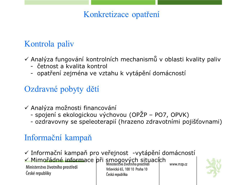Konkretizace opatření Kontrola paliv  Analýza fungování kontrolních mechanismů v oblasti kvality paliv - četnost a kvalita kontrol - opatření zejména ve vztahu k vytápění domácností Ozdravné pobyty dětí  Analýza možnosti financování - spojení s ekologickou výchovou (OPŽP – PO7, OPVK) - ozdravovny se speleoterapií (hrazeno zdravotními pojišťovnami) Informační kampaň  Informační kampaň pro veřejnost -vytápění domácností  Mimořádné informace při smogových situacích