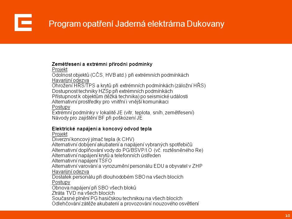 10 Program opatření Jaderná elektrárna Dukovany Zemětřesení a extrémní přírodní podmínky Projekt Odolnost objektů (CČS, HVB atd.) při extrémních podmí