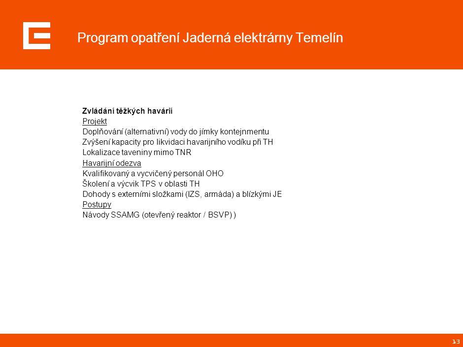 13 Program opatření Jaderná elektrárny Temelín Zvládání těžkých havárií Projekt Doplňování (alternativní) vody do jímky kontejnmentu Zvýšení kapacity