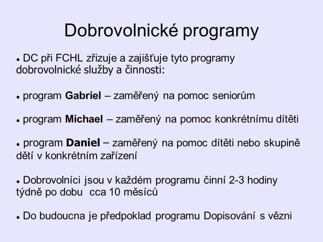 Dobrovolnické programy  DC při FCHL zřizuje a zajišťuje tyto programy dobrovolnické služby a činnosti:  program Gabriel – zaměřený na pomoc seniorům
