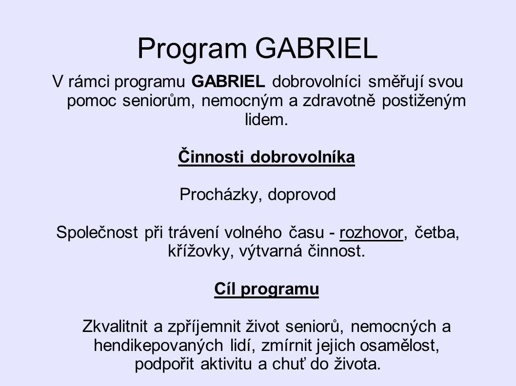 Program GABRIEL V rámci programu GABRIEL dobrovolníci směřují svou pomoc seniorům, nemocným a zdravotně postiženým lidem. Činnosti dobrovolníka Prochá