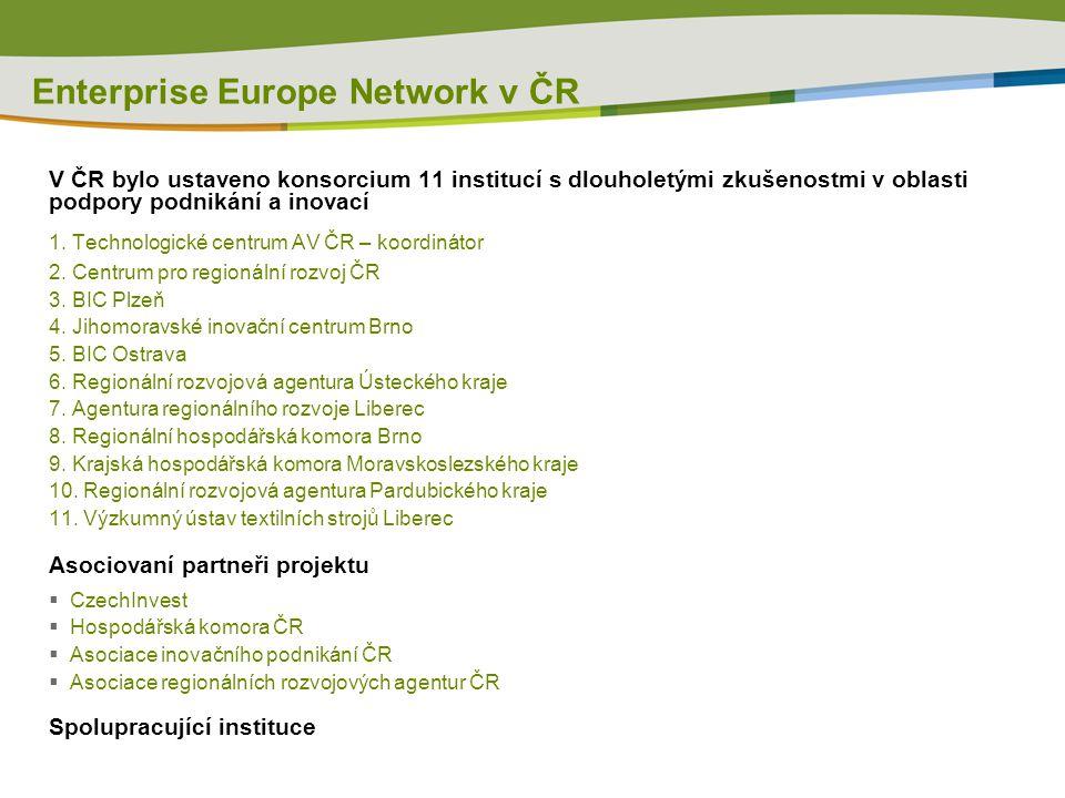 Enterprise Europe Network v ČR V ČR bylo ustaveno konsorcium 11 institucí s dlouholetými zkušenostmi v oblasti podpory podnikání a inovací 1.