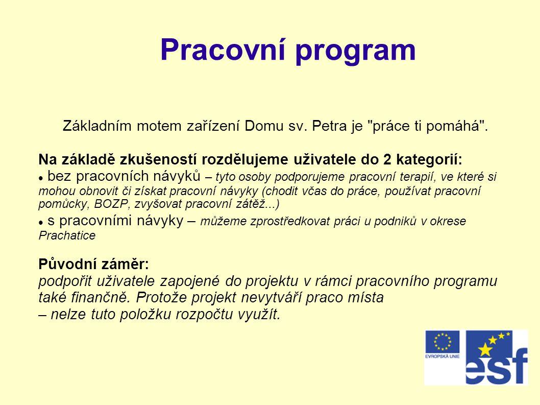 Pracovní program Základním motem zařízení Domu sv.