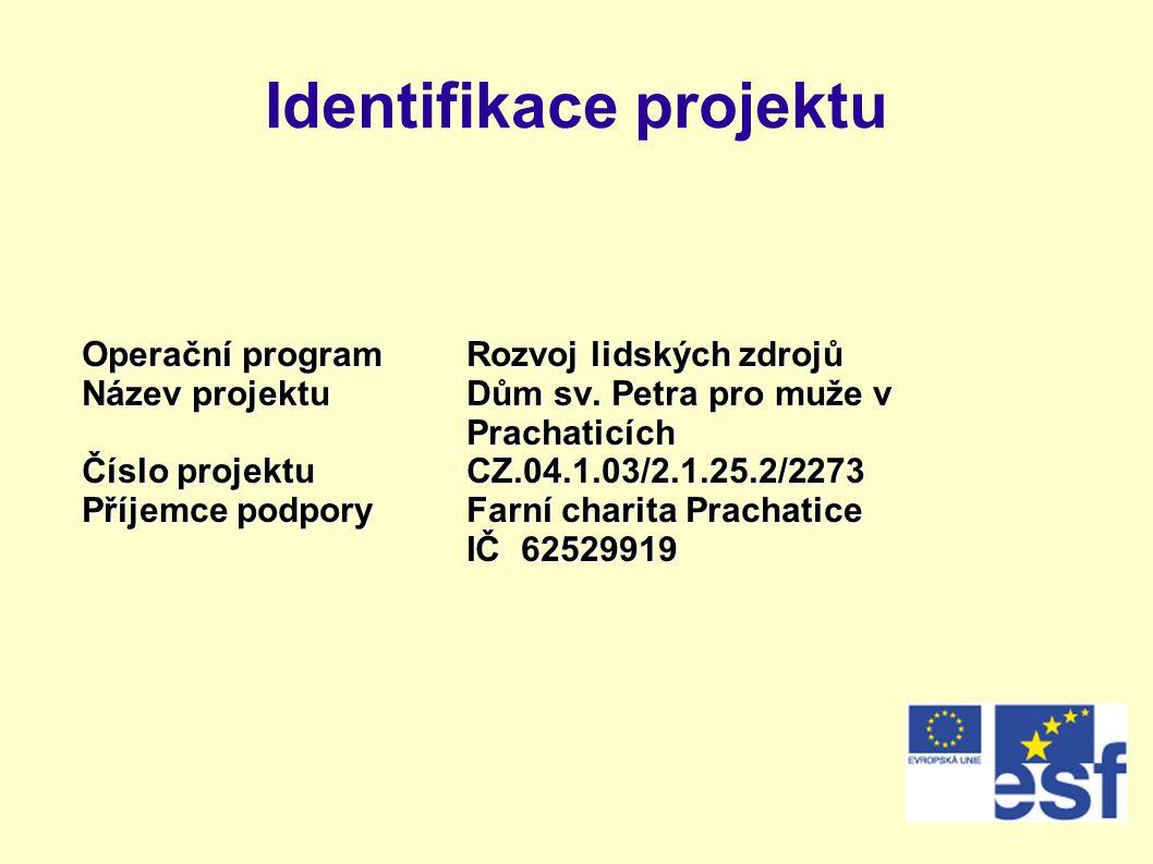 Identifikace projektu Operační programRozvoj lidských zdrojů Název projektuDům sv. Petra pro muže v Prachaticích Číslo projektuCZ.04.1.03/2.1.25.2/227
