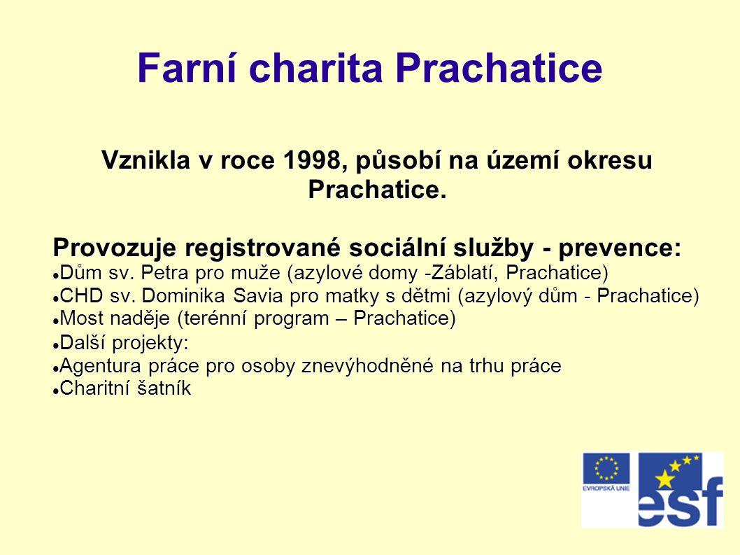 Farní charita Prachatice Vznikla v roce 1998, působí na území okresu Prachatice. Provozuje registrované sociální služby - prevence:  Dům sv. Petra pr