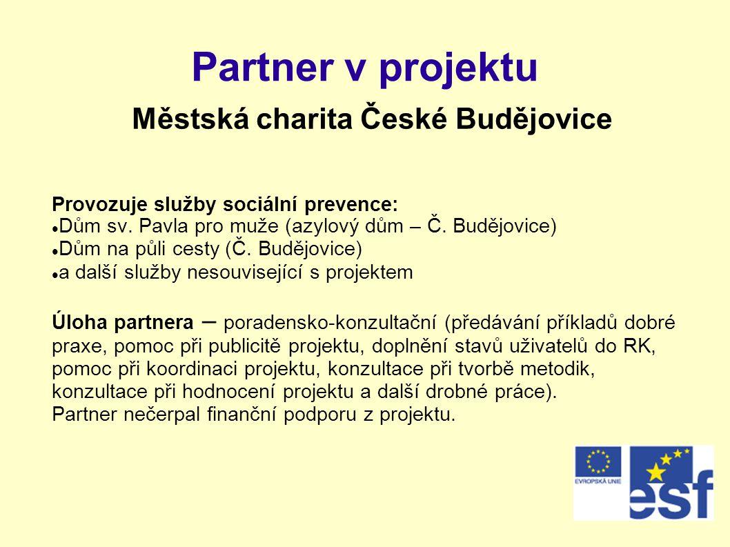 Partner v projektu Městská charita České Budějovice Provozuje služby sociální prevence:  Dům sv. Pavla pro muže (azylový dům – Č. Budějovice)  Dům