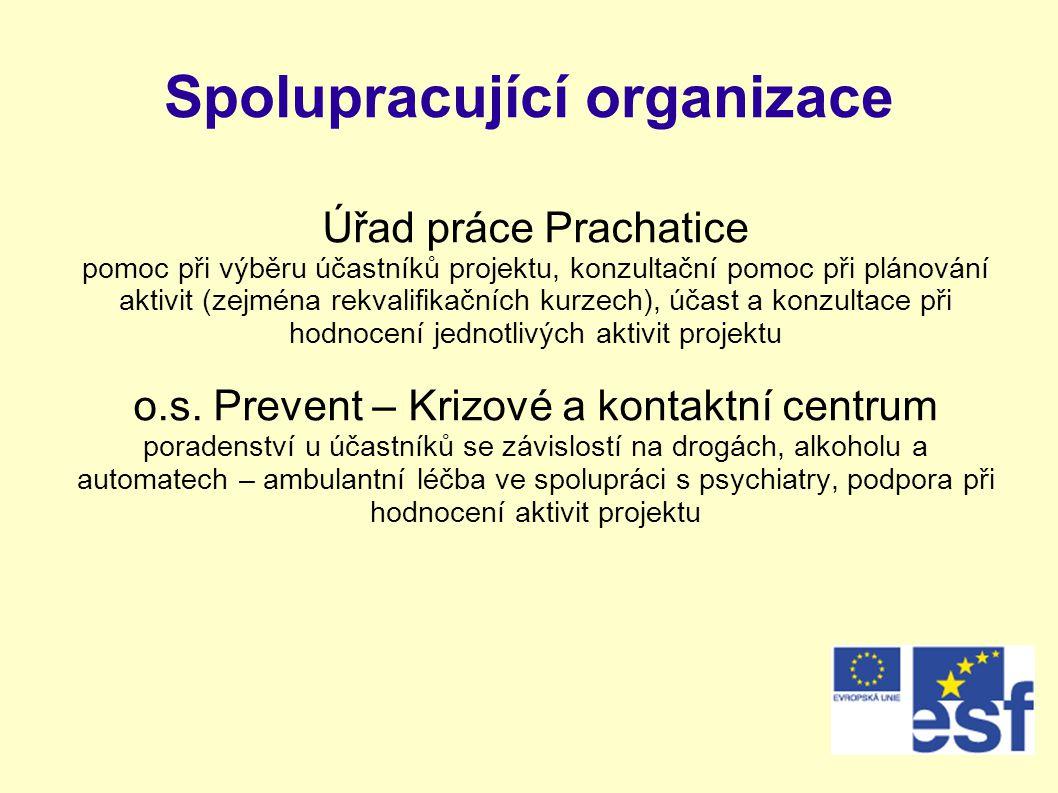 Spolupracující organizace Úřad práce Prachatice pomoc při výběru účastníků projektu, konzultační pomoc při plánování aktivit (zejména rekvalifikačních