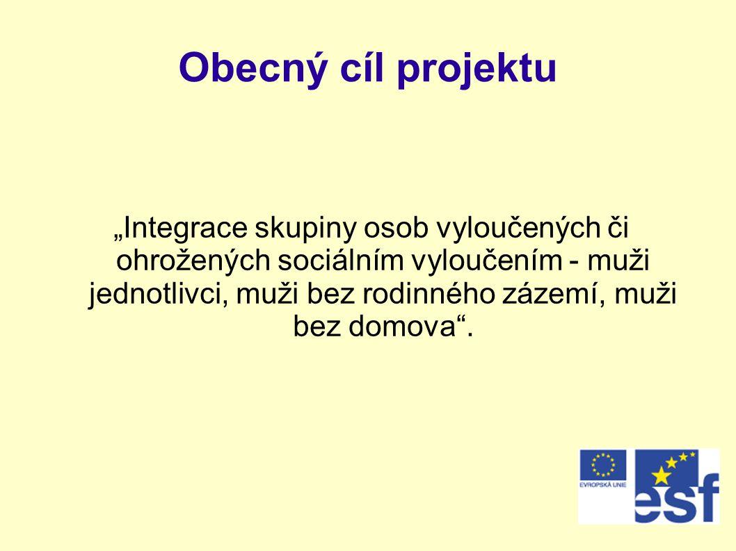 """Obecný cíl projektu """"Integrace skupiny osob vyloučených či ohrožených sociálním vyloučením - muži jednotlivci, muži bez rodinného zázemí, muži bez dom"""
