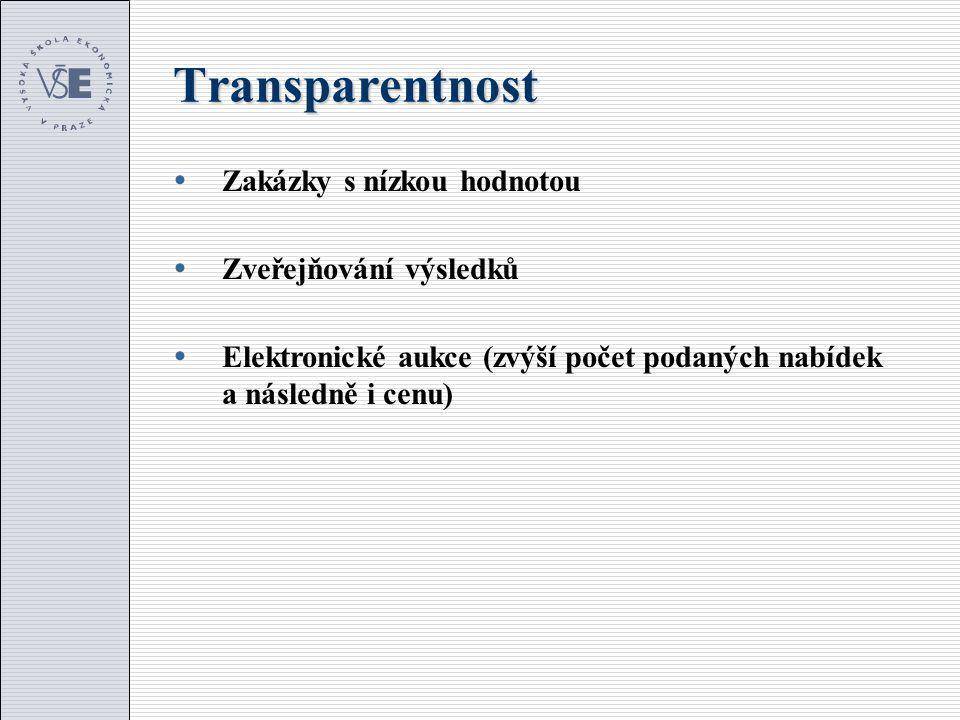 Transparentnost  Zakázky s nízkou hodnotou  Zveřejňování výsledků  Elektronické aukce (zvýší počet podaných nabídek a následně i cenu)