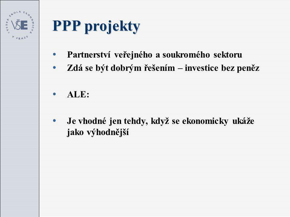 PPP projekty  Partnerství veřejného a soukromého sektoru  Zdá se být dobrým řešením – investice bez peněz  ALE:  Je vhodné jen tehdy, když se ekonomicky ukáže jako výhodnější