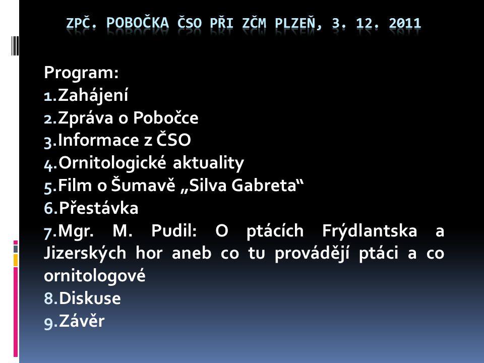 """Program: 1. Zahájení 2. Zpráva o Pobočce 3. Informace z ČSO 4. Ornitologické aktuality 5. Film o Šumavě """"Silva Gabreta"""" 6. Přestávka 7. Mgr. M. Pudil:"""