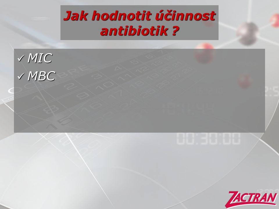 Jak hodnotit účinnost antibiotik ?  MIC  MBC