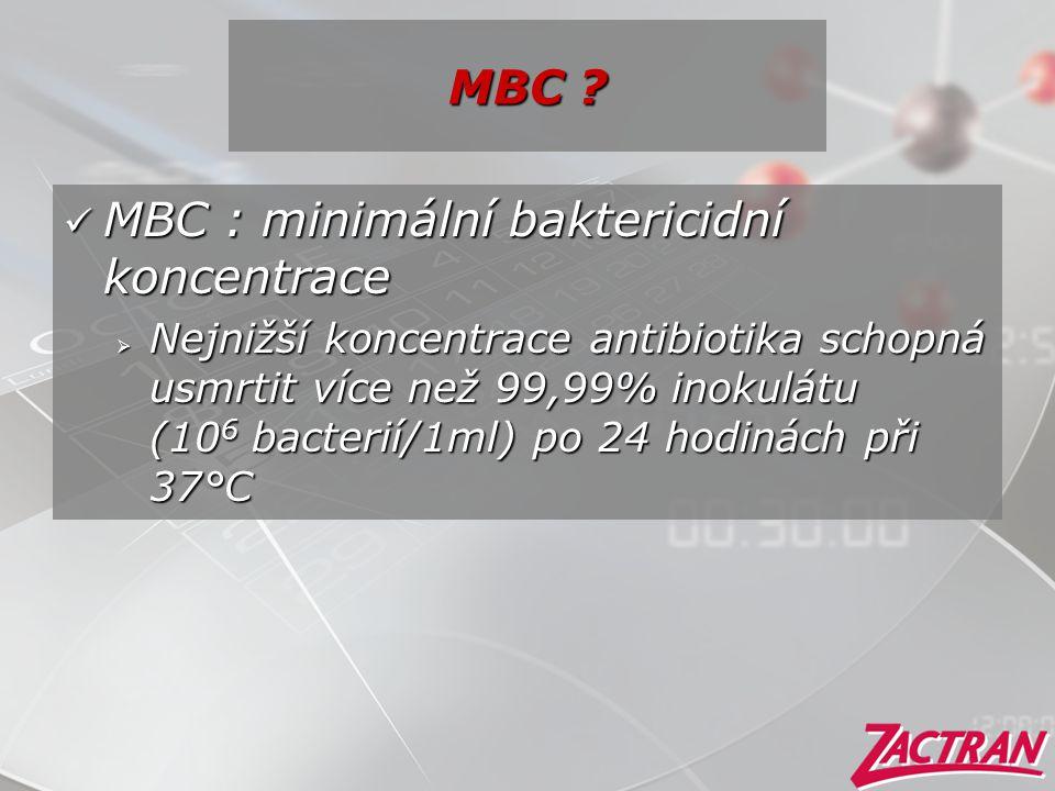 MBC ?  MBC : minimální baktericidní koncentrace  Nejnižší koncentrace antibiotika schopná usmrtit více než 99,99% inokulátu (10 6 bacterií/1ml) po 2