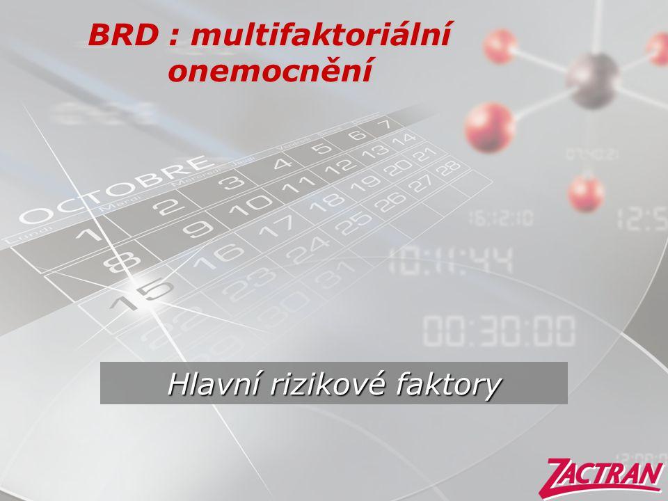 BRD : multifaktoriální onemocnění Hlavní rizikové faktory