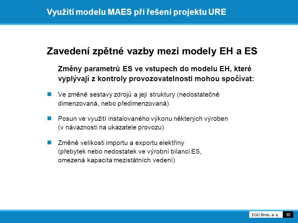 Využití modelu MAES při řešení projektu URE Zavedení zpětné vazby mezi modely EH a ES Změny parametrů ES ve vstupech do modelu EH, které vyplývají z kontroly provozovatelnosti mohou spočívat:  Ve změně sestavy zdrojů a její struktury (nedostatečně dimenzovaná, nebo předimenzovaná)  Posun ve využití instalovaného výkonu některých výroben (v návaznosti na ukazatele provozu)  Změně velikosti importu a exportu elektřiny (přebytek nebo nedostatek ve výrobní bilanci ES, omezená kapacita mezistátních vedení) 10 EGÚ Brno, a.