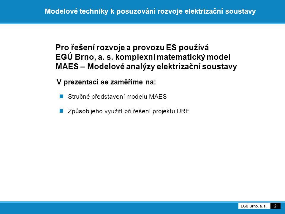 Modelové techniky k posuzování rozvoje elektrizační soustavy Pro řešení rozvoje a provozu ES používá EGÚ Brno, a.