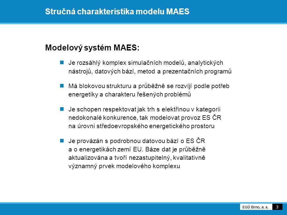 Stručná charakteristika modelu MAES Modelový systém MAES:  Je rozsáhlý komplex simulačních modelů, analytických nástrojů, datových bází, metod a prezentačních programů  Má blokovou strukturu a průběžně se rozvíjí podle potřeb energetiky a charakteru řešených problémů  Je schopen respektovat jak trh s elektřinou v kategorii nedokonalé konkurence, tak modelovat provoz ES ČR na úrovni středoevropského energetického prostoru  Je provázán s podrobnou datovou bází o ES ČR a o energetikách zemí EU.