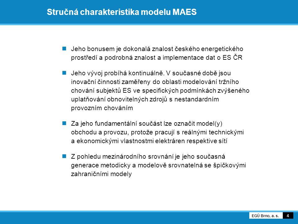 Stručná charakteristika modelu MAES  Jeho bonusem je dokonalá znalost českého energetického prostředí a podrobná znalost a implementace dat o ES ČR  Jeho vývoj probíhá kontinuálně.