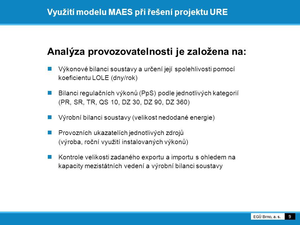 Využití modelu MAES při řešení projektu URE Analýza provozovatelnosti je založena na:  Výkonové bilanci soustavy a určení její spolehlivosti pomocí koeficientu LOLE (dny/rok)  Bilanci regulačních výkonů (PpS) podle jednotlivých kategorií (PR, SR, TR, QS 10, DZ 30, DZ 90, DZ 360)  Výrobní bilanci soustavy (velikost nedodané energie)  Provozních ukazatelích jednotlivých zdrojů (výroba, roční využití instalovaných výkonů)  Kontrole velikosti zadaného exportu a importu s ohledem na kapacity mezistátních vedení a výrobní bilanci soustavy 9 EGÚ Brno, a.