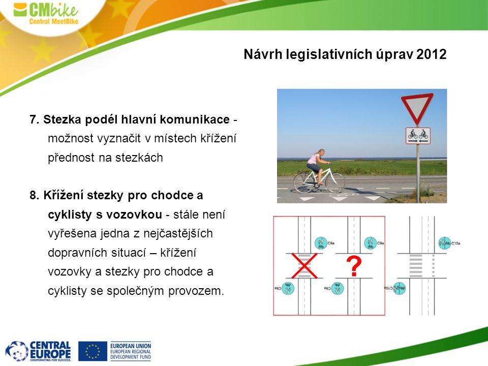 7.Stezka podél hlavní komunikace - možnost vyznačit v místech křížení přednost na stezkách 8.