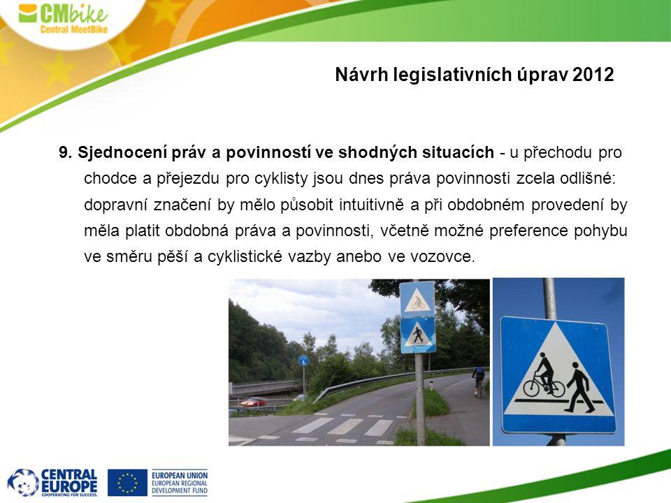 9. Sjednocení práv a povinností ve shodných situacích - u přechodu pro chodce a přejezdu pro cyklisty jsou dnes práva povinnosti zcela odlišné: doprav