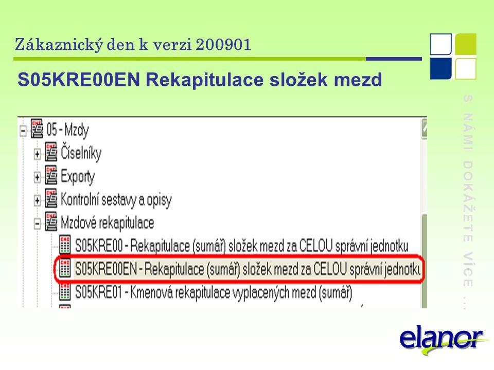 S NÁMI DOKÁŽETE VÍCE... Zákaznický den k verzi 200901 S05KRE00EN Rekapitulace složek mezd