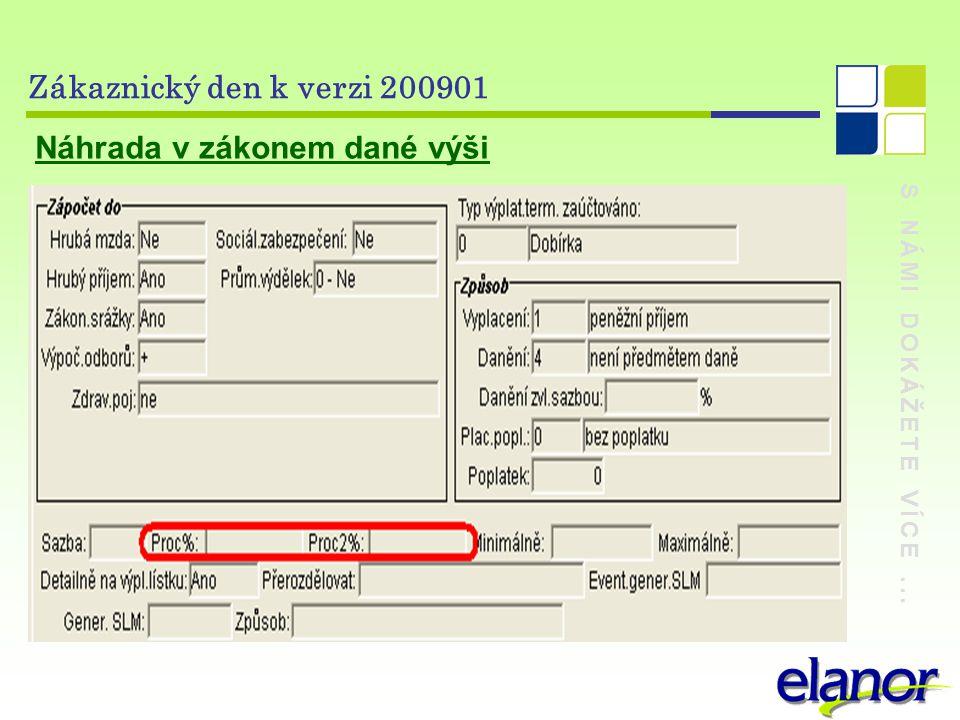 S NÁMI DOKÁŽETE VÍCE... Zákaznický den k verzi 200901 Náhrada v zákonem dané výši