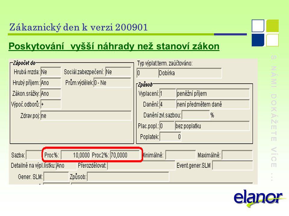 S NÁMI DOKÁŽETE VÍCE... Zákaznický den k verzi 200901 Poskytování vyšší náhrady než stanoví zákon