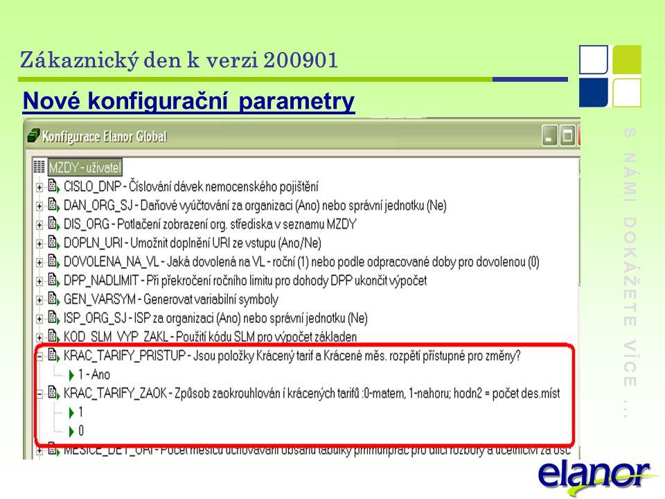 S NÁMI DOKÁŽETE VÍCE... Zákaznický den k verzi 200901 Nové konfigurační parametry