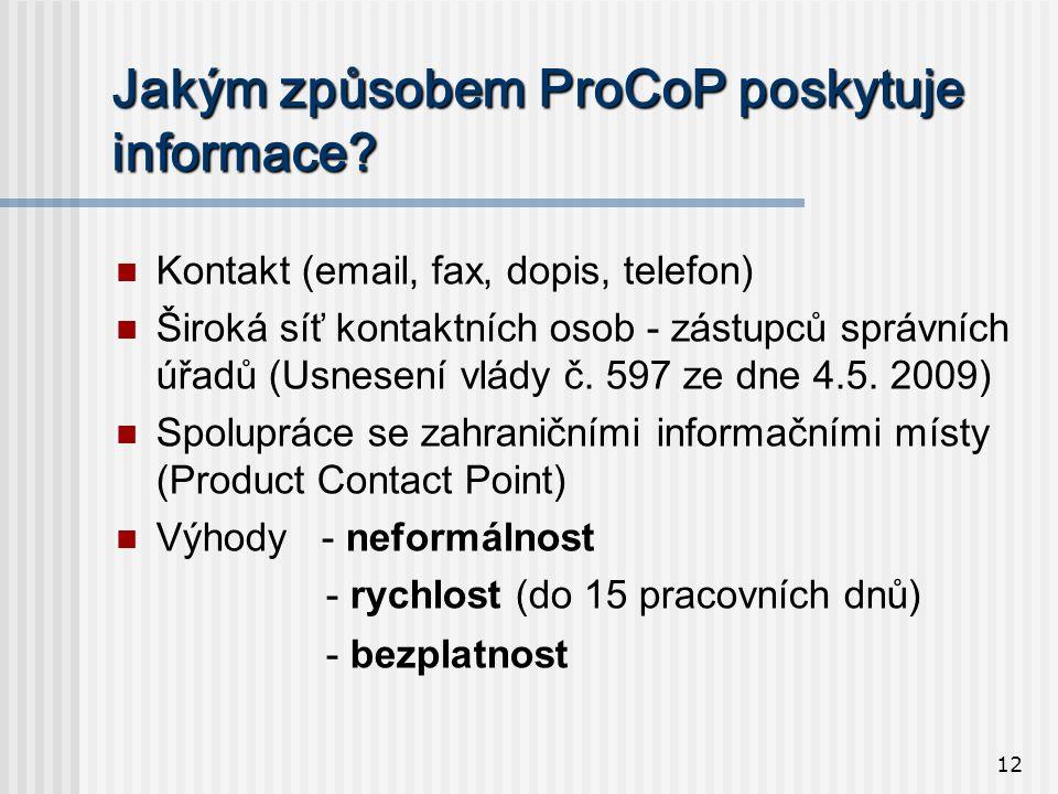 12 Jakým způsobem ProCoP poskytuje informace.