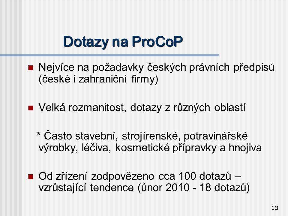 13 Dotazy na ProCoP  Nejvíce na požadavky českých právních předpisů (české i zahraniční firmy)  Velká rozmanitost, dotazy z různých oblastí * Často stavební, strojírenské, potravinářské výrobky, léčiva, kosmetické přípravky a hnojiva  Od zřízení zodpovězeno cca 100 dotazů – vzrůstající tendence (únor 2010 - 18 dotazů)