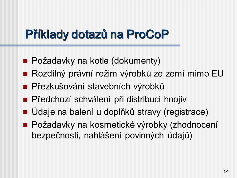 14 Příklady dotazů na ProCoP  Požadavky na kotle (dokumenty)  Rozdílný právní režim výrobků ze zemí mimo EU  Přezkušování stavebních výrobků  Předchozí schválení při distribuci hnojiv  Údaje na balení u doplňků stravy (registrace)  Požadavky na kosmetické výrobky (zhodnocení bezpečnosti, nahlášení povinných údajů)