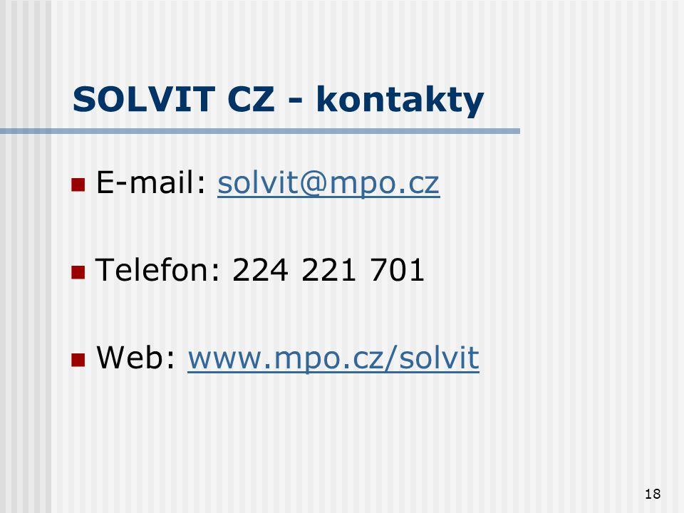 18 SOLVIT CZ - kontakty  E-mail: solvit@mpo.czsolvit@mpo.cz  Telefon: 224 221 701  Web: www.mpo.cz/solvitwww.mpo.cz/solvit