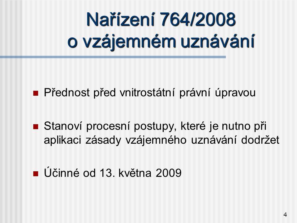 4 Nařízení 764/2008 o vzájemném uznávání  Přednost před vnitrostátní právní úpravou  Stanoví procesní postupy, které je nutno při aplikaci zásady vzájemného uznávání dodržet  Účinné od 13.