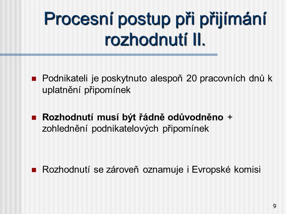 9 Procesní postup při přijímání rozhodnutí II.